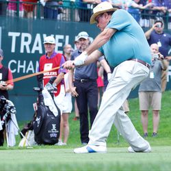 ESPN's Chris Berman tees off  at the 2017 Travelers Championship Pro-Am.<br>