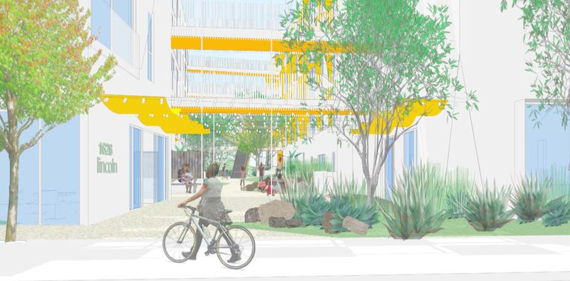 Rendering of open space around the building
