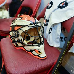 Neil Little's helmet with Brian Boucher's pads in the background