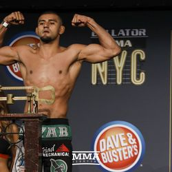 Douglas Lima poses at Bellator NYC weigh-ins.