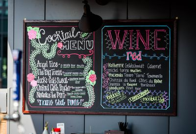 Cocktail and wine chalkboard menu