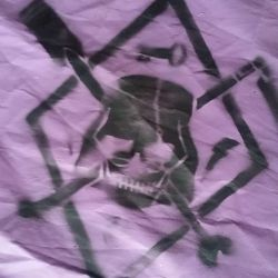 Close-up of the Jolly Franklin stencil