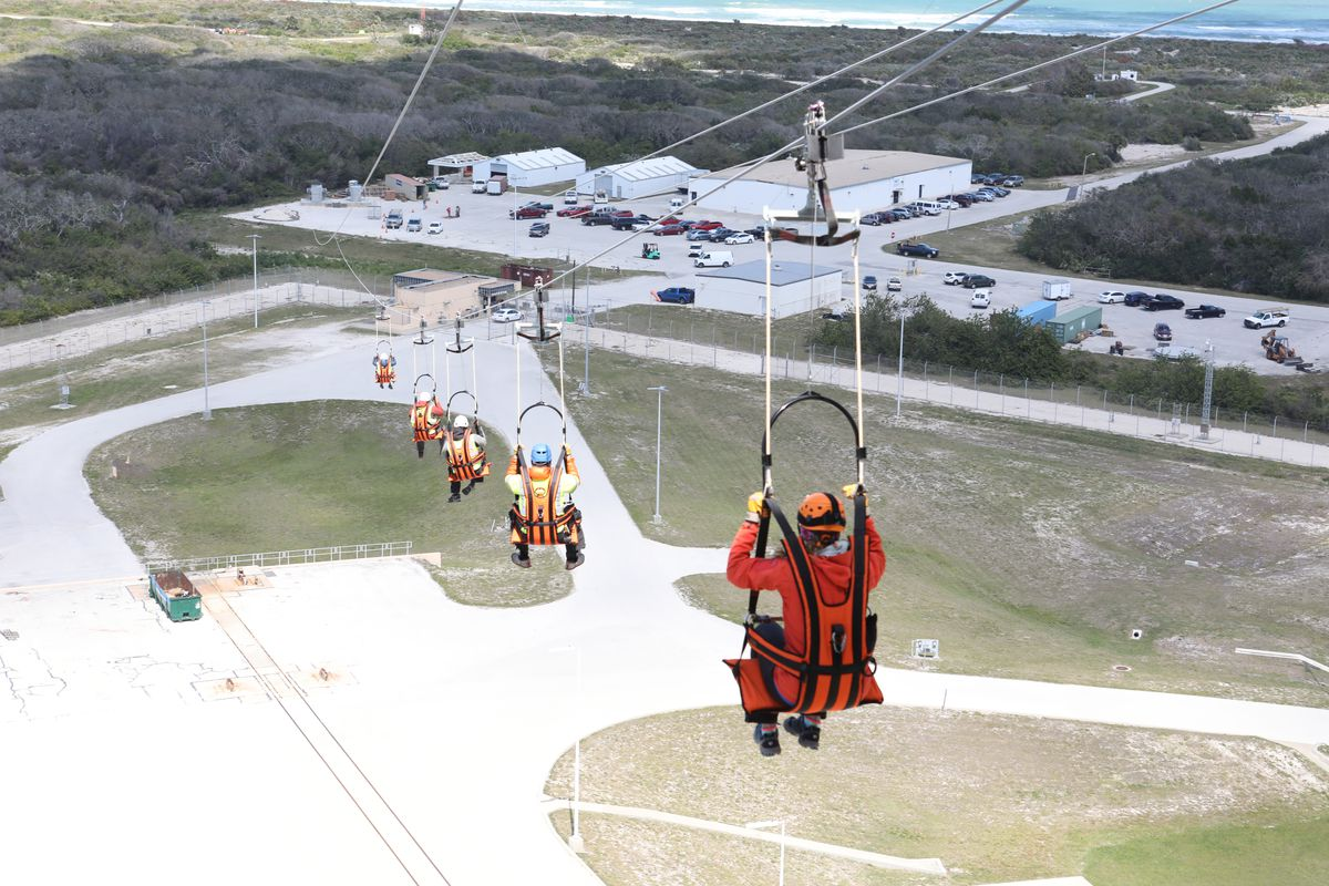 NASA tests new astronaut zip line escape at Cape Canaveral