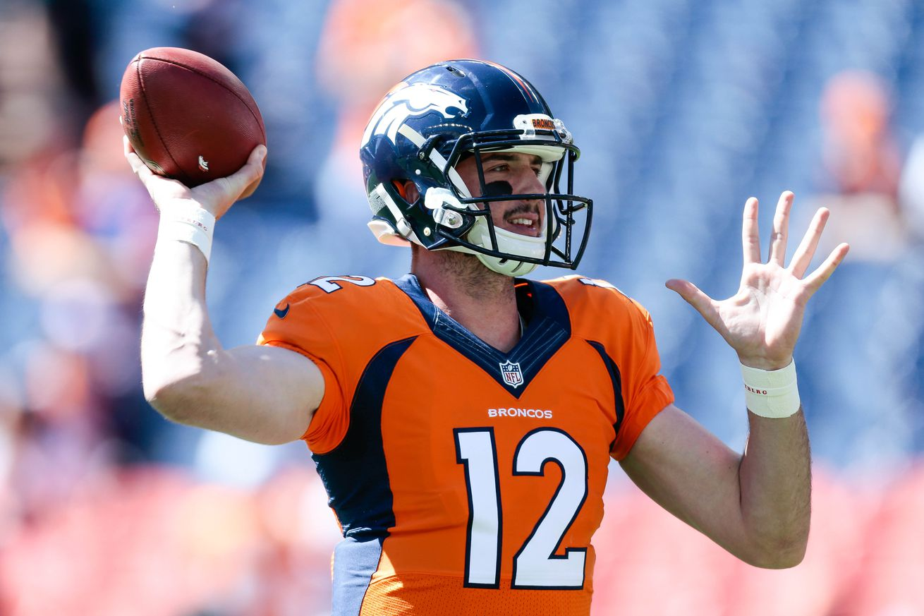 Which Denver Broncos quarterback is under more pressure this offseason?