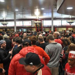 The Varsity was mobbed in the hours leading up to the game.
