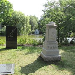 """Another view, across the lake is the Goodman family mausoleum.Ernie's nearest """"neighbor"""" is dancer Ruth Page"""