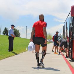 Our very own Tim Howard walking back to the bus.