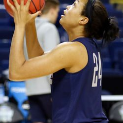 UConn's Napheesa Collier shoots during a drill during their Sweet 16 practice.<br>