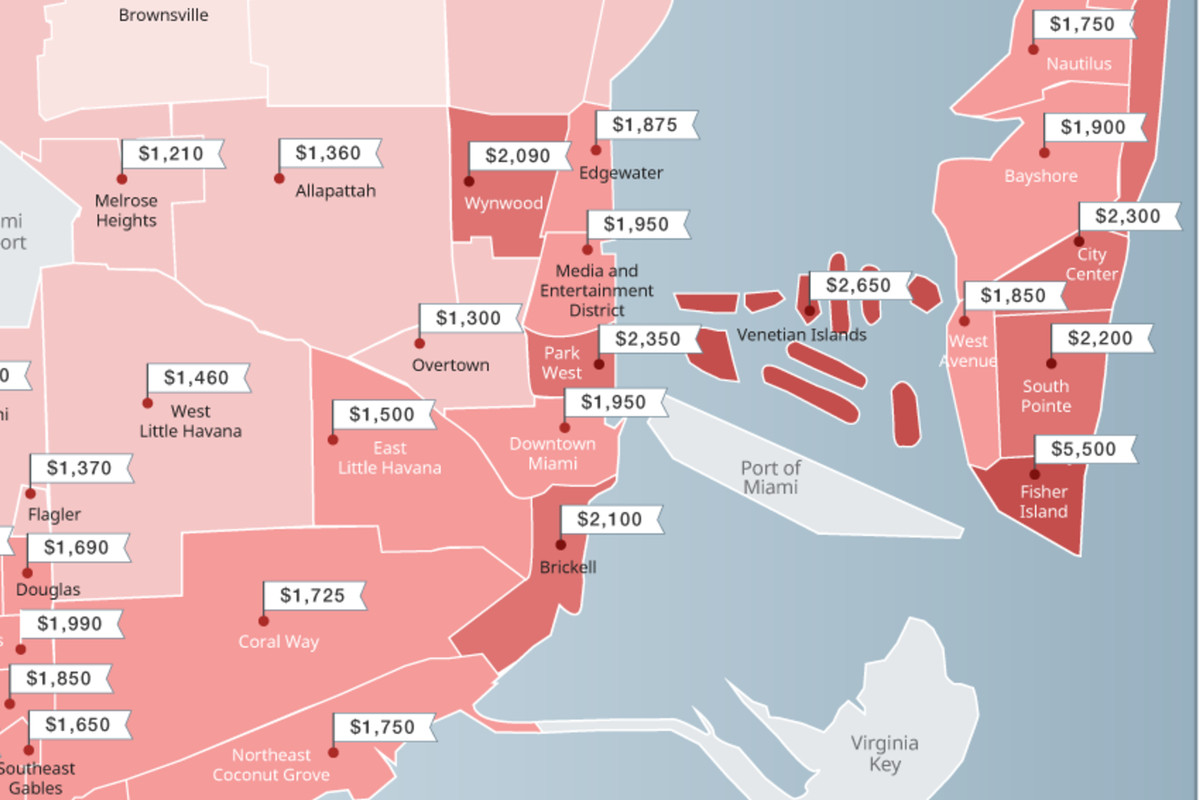 miami neighborhood map shows dipping rents - curbed miami