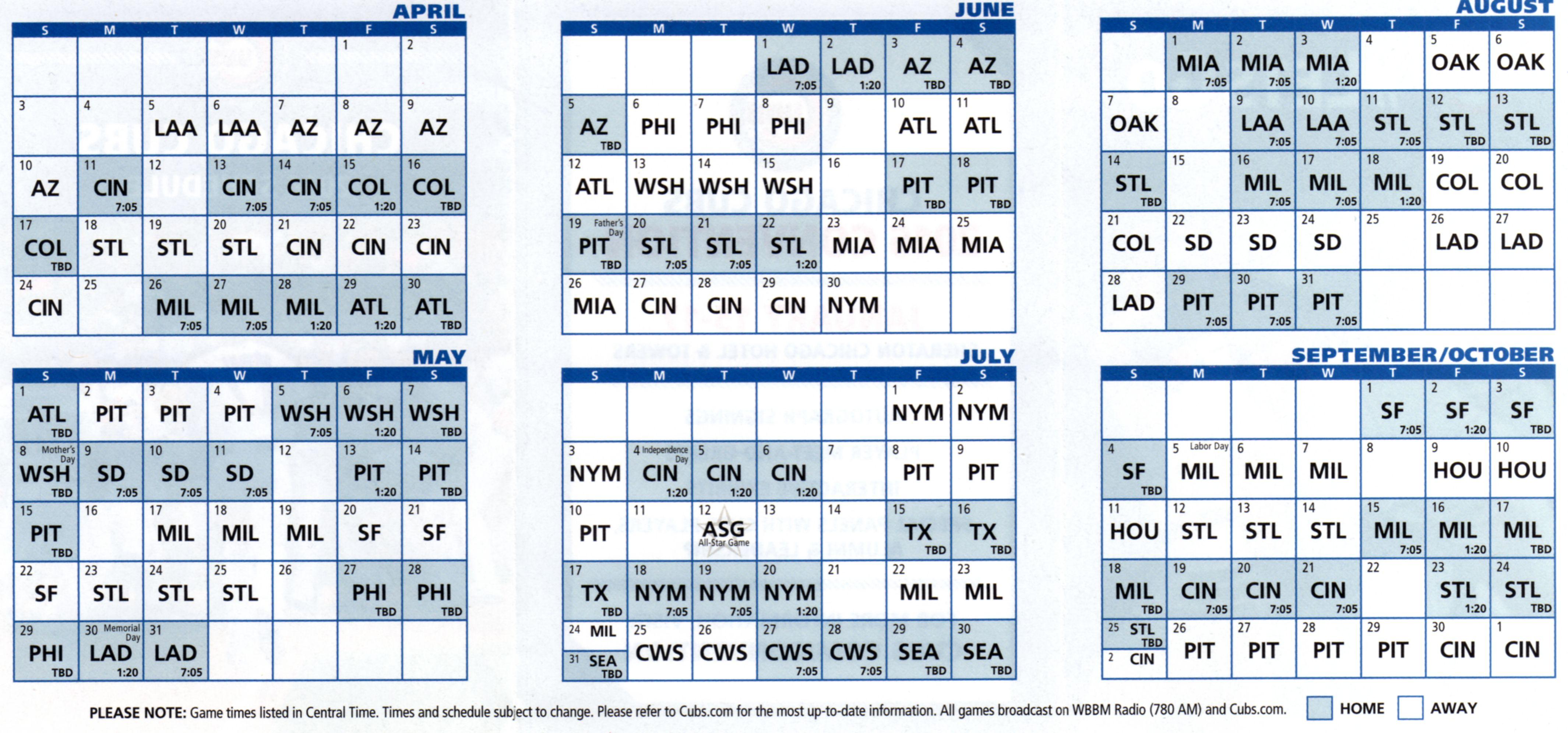 Cubs Schedule 2017 Excel