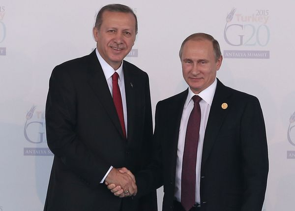 Putin and Turkish Prime Minister Recep Tayyip Erdoğan a week ago Sunday. Those were happier times.