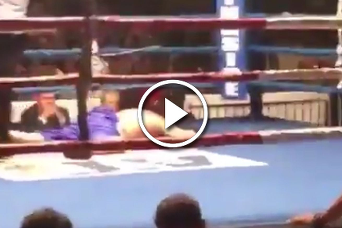 Video: Tyrone Spong wins boxing match by flying faceplant knockout