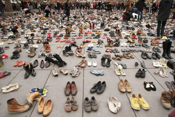 Protesters weren't allowed to rally in Paris because of terrorism fears. So they left their shoes.