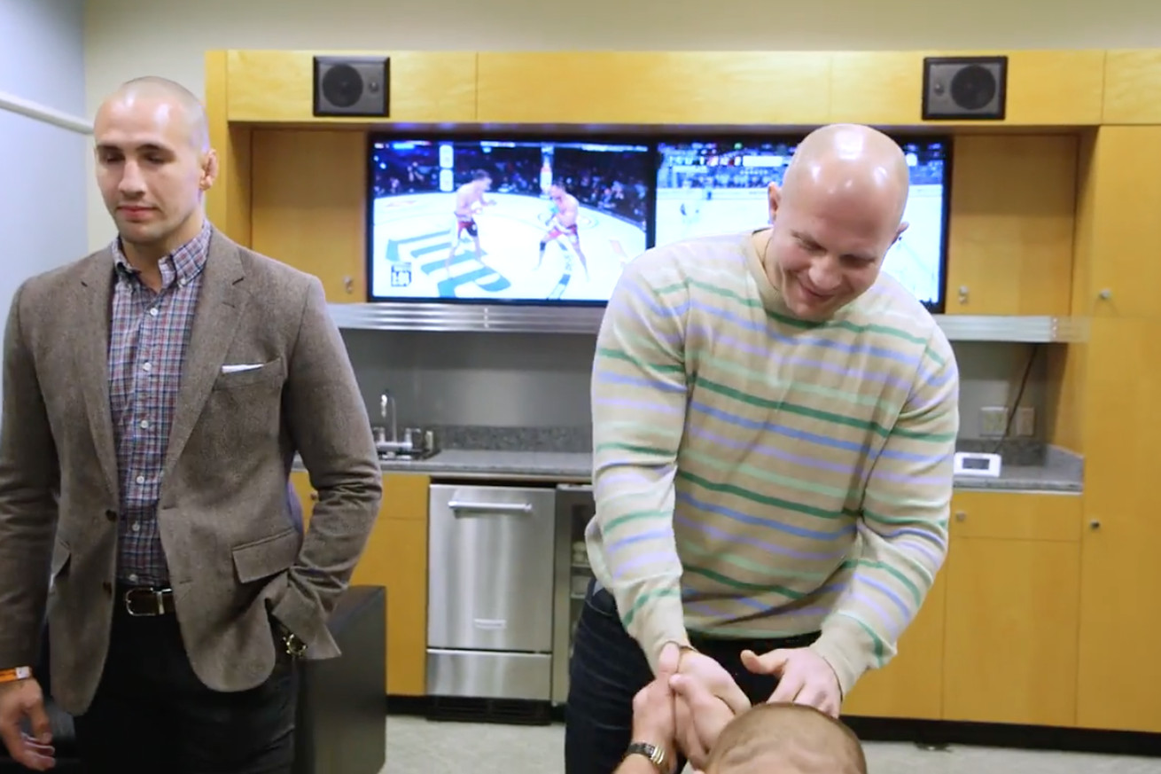 Video: Watch Georges St Pierre get on his knees in awe of the mighty Fedor Emelianenko
