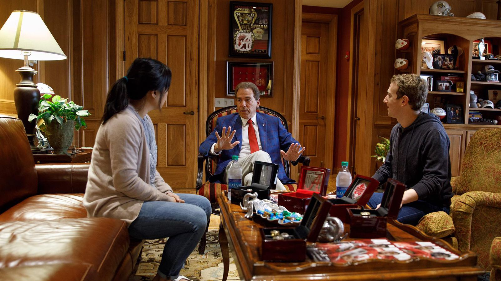 'The Facebook guy' Mark Zuckerberg hung out with Nick Saban and some Bama players
