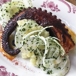 Grilled octopus, fennel,smiled pimentón, Picual olive oil mashed potatoes from Boqueria