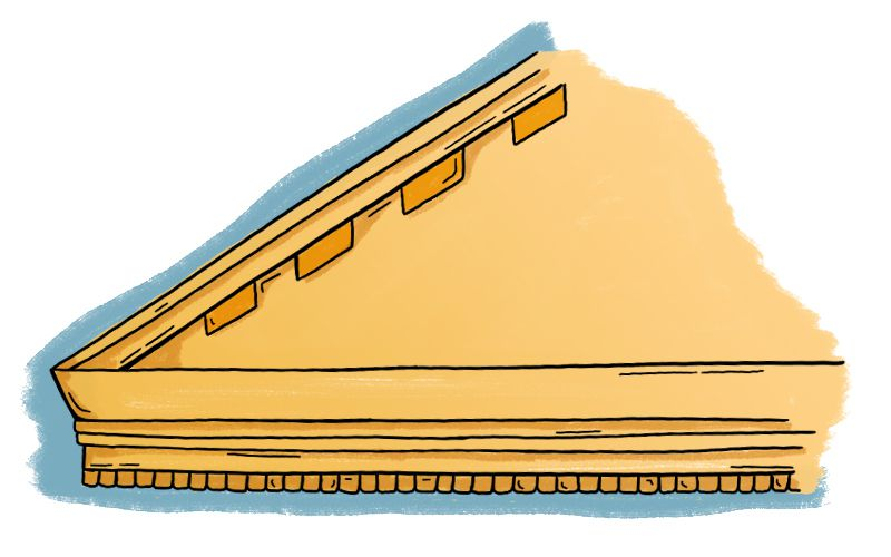 An illustration of a corner of a roof with detailing.