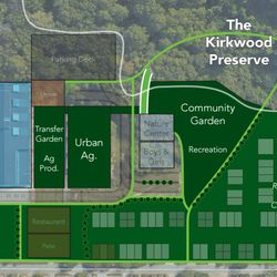 A plan highlighting greenspace.