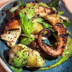 Spicy grilled octopus at Benedetto, a new addition to the Heatmap this month.