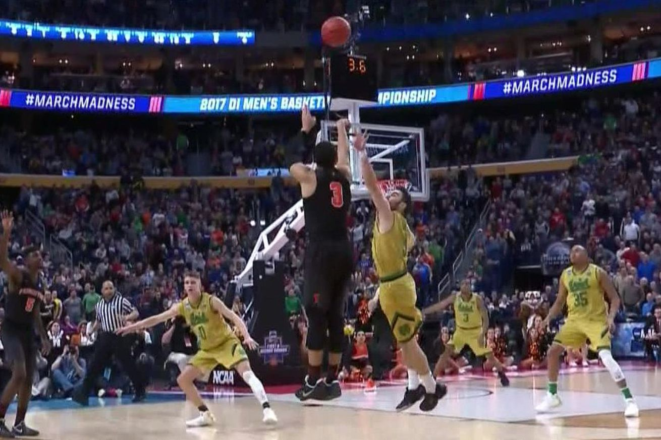 If Devin Cannady hits this shot in the final seconds, Notre Dame-Princeton becomes the only truly memorable March Madness moment of Day 1