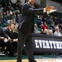 NIU coach Mark Montgomery upset about something.