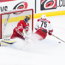 Spencer Smallman gives Team White a 5-4 lead with a shootout goal on Jack LaFontaine. July 1, 2017. Carolina Hurricanes Summerfest and Development Camp, PNC Arena, Raleigh, NC. Copyright © 2017 Jamie Kellner. All Rights Reserved.