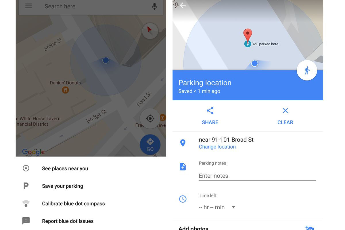 Google Maps now won't let you forget where you've parked