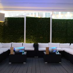 Decades' rooftop features greenery-covered privacy walls.