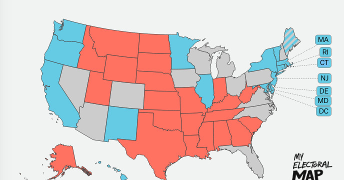 Why The Electoral College Is The Absolute Worst Explained Vox - Us-map-of-electoral-college-votes