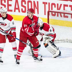Julien Gauthier with the net front presence as Brendan de Jong defends. July 1, 2017. Carolina Hurricanes Summerfest and Development Camp, PNC Arena, Raleigh, NC. Copyright © 2017 Jamie Kellner. All Rights Reserved.