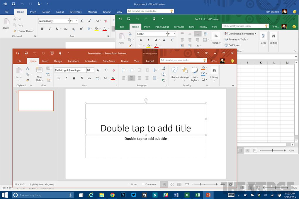 microsoft office 2016 includes a colorful new theme the verge. Black Bedroom Furniture Sets. Home Design Ideas