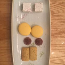 Mignardises: Strawberry jellies, marshmallow, macaroons and financiers