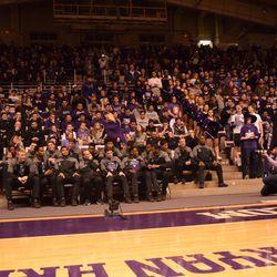 Northwestern University President Morton Schapiro addressed the crowd following the team's selection.