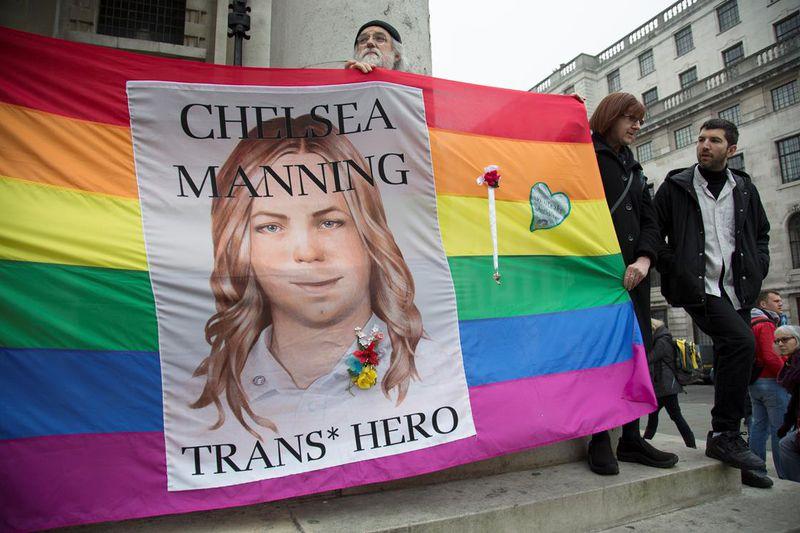 Chelsea Manning rainbow banner