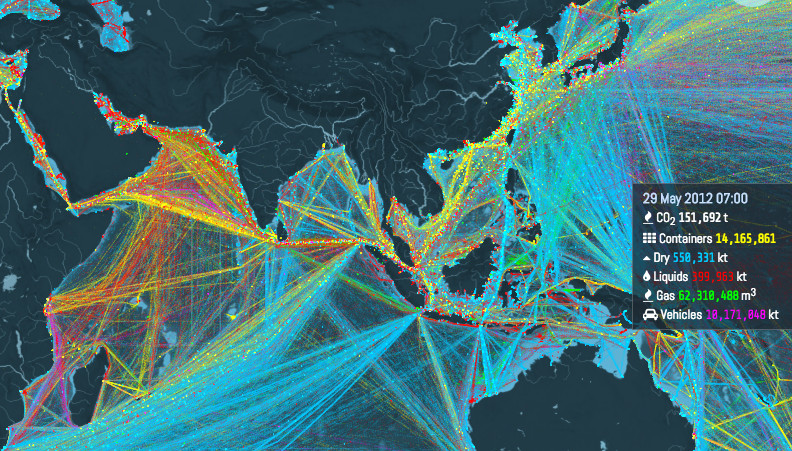 this is an incredible visualization of the worlds shipping routes