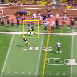 Because Peppers is essentially stride for stride with the RB by the time the ball gets thrown. The back can't get a step, and a poor throw gives this play zero chance of working.