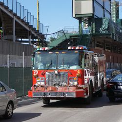 CFD Engine 78 weaving its way through the St Patrick's Day Parade bar traffic, along Sheffield Avenue