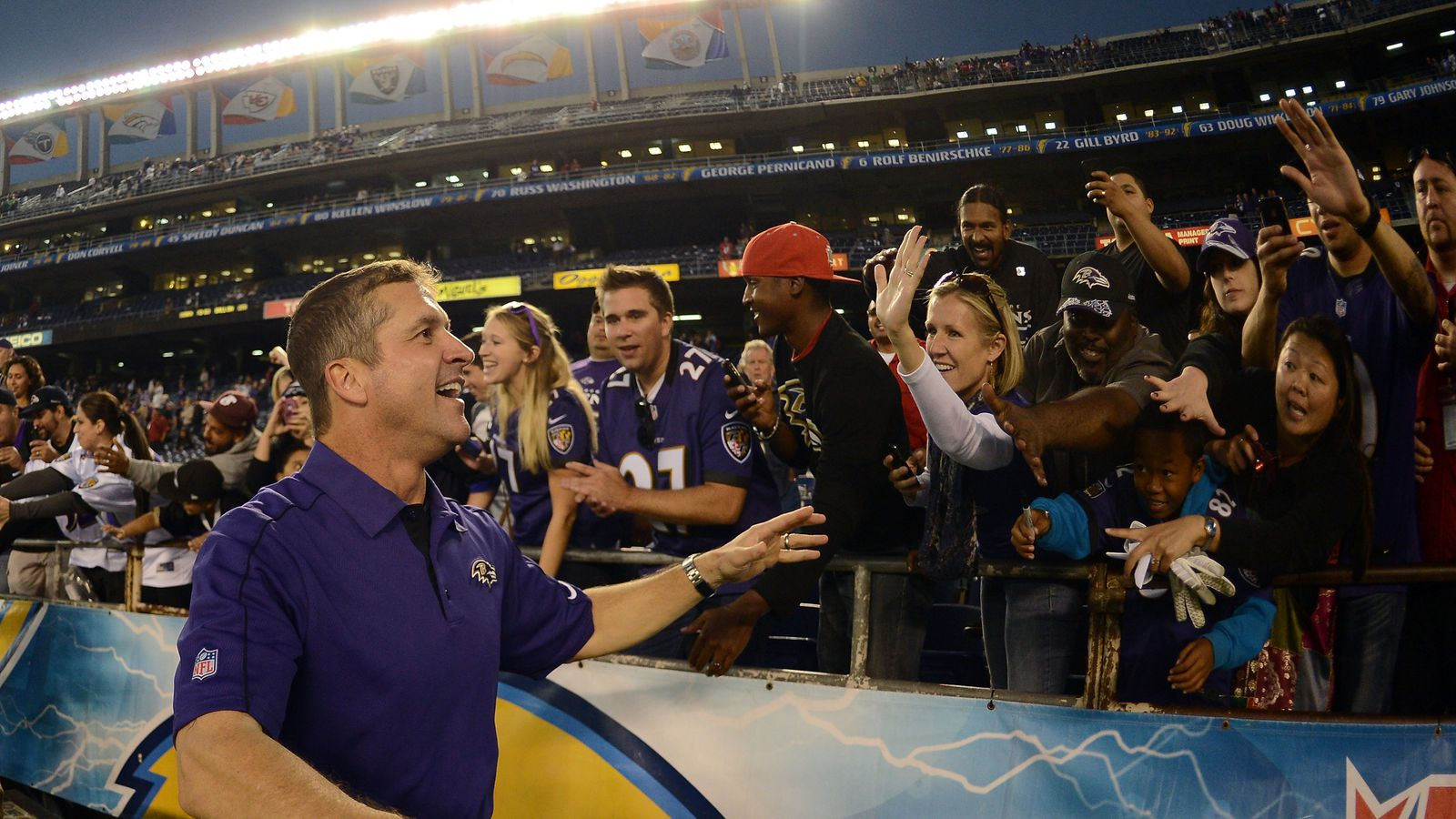 Ravens Head Coach John Harbaugh Welcomes Former Chargers