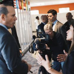 Don Garber talks to YSC Academy Head of School Dr. Nooha Ahmed-Lee