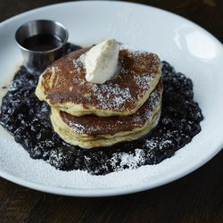 Blueberry pancakes (honey-thyme butter, blueberry-star anise compote, maple syrup).