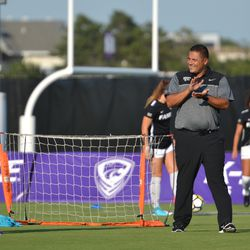 MANHATTAN, KANSAS - Kansas State head coach Mike Dibbini oversees pre-game warmups before K-State's 2-0 victory over Omaha on August 30, 2017.