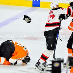 Gudas' glove flying off and MacDonald and Simmonds going in to defend him