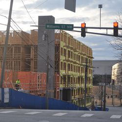The view of the building down West Peachtree Place, toward the Center for Civil and Human Rights.