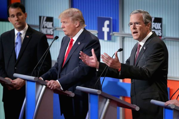 Scott Walker, Donald Trump, and Jeb Bush on stage