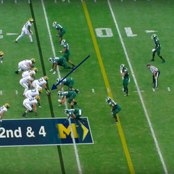 Peppers in motion and the ball is yet to be snapped. It's just a small thing Michigan does to get him a head start.