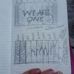 The initial sketches of the ideas that would become the tifo.