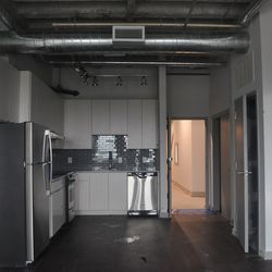 The kitchen of a two-bedroom unit.