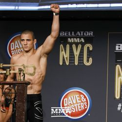 Aaron Pico poses at the Bellator NYC weigh-ins.