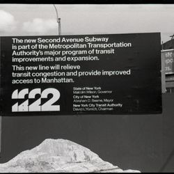 A Second Avenue Subway construction sign in 1974