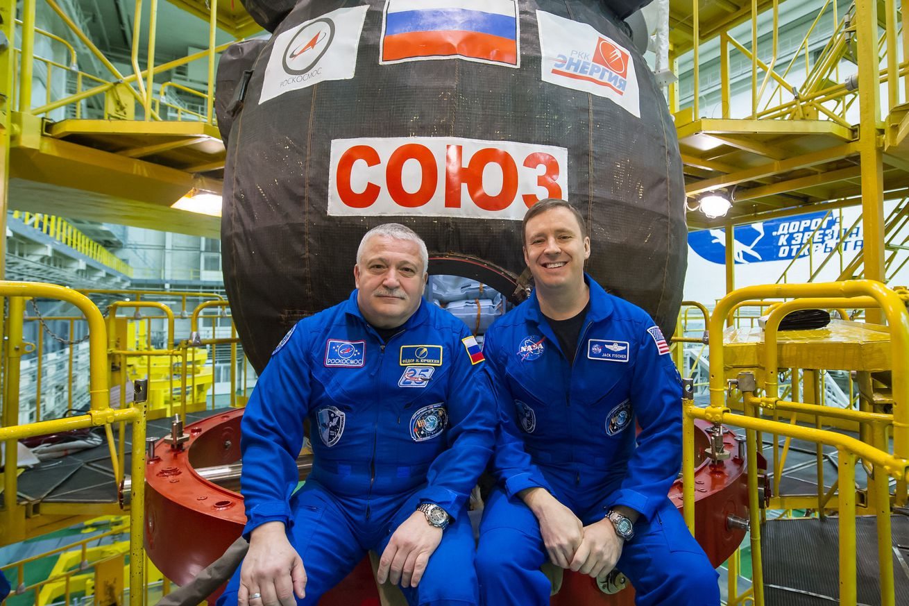 A rare two-person crew will blast off to the International Space Station today